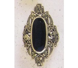 Ring Markasit Silber mit synth. Aqua P1010