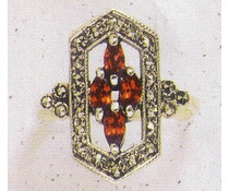 Ring Markasit synth. Aqua  Lapislazuli Granat P1094