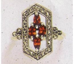 Ring Markasit Silber mit synth. Aqua  Lapislazuli Granat P1094