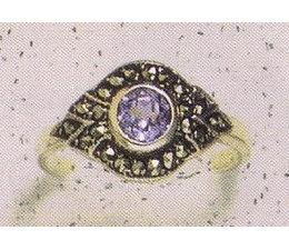 Ring Markasit Silber mit Amethyst synth. Aqua Onyx Peridot Grünachat Granat Opal