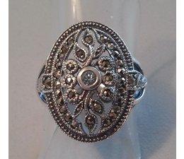 Ring Silber Markasit Blautopas P1046