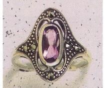 Ring Markasit Amethyst synth. Aqua Onyx P1026