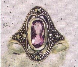 Ring Silber Markasit Amethyst synth. Aqua Onyx P1026