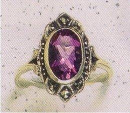 Ring Silber Markasit Granat P1017