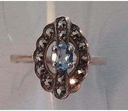 Ring Markasit Silber synth. Aqua Opal