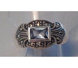 Ring Silber Markasit synth. Aqua Granat P1061