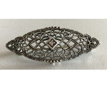 Brosche Markasit Blautopas oder Diamant  P1668