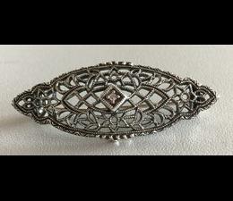 Brosche Silber 925 Markasit Blautopas oder Diamant  P1668