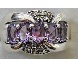 Ring  synth. Aqua oder Amethyst  Markasit Silber 9251743