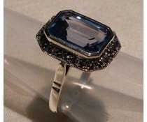 Ring Markasit  synth. Aqua Silber 11012