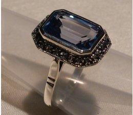 Ring Markasit  synth. Aqua Silber 925 11012