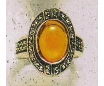 Ring Markasit Silber Bernstein Jadeit  Frosted Crystal White1940