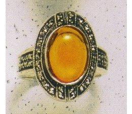 Ring Markasit Silber 925 Bernstein Jadeit Frosted Crystal White 1940