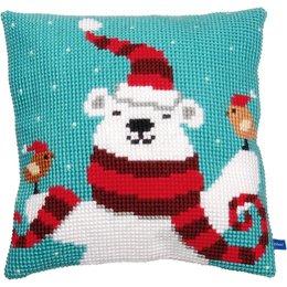 Vervaco Kussen vrolijke kerstbeer