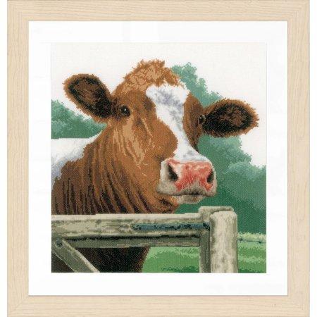 Lanarte Borduurpakket verwonderde koe