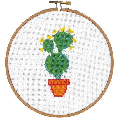Vervaco Borduurpakket met ring cactus met gele bloem