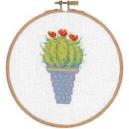 Vervaco Borduurpakket met ring cactus met rode bloem