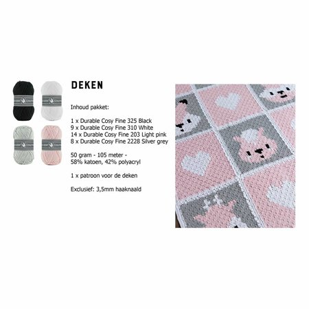 Haakpakket DenDennis Deken - roze