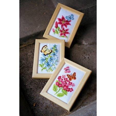 Vervaco Borduurpakket Bloemen en Vlinders set van 3 miniatuur