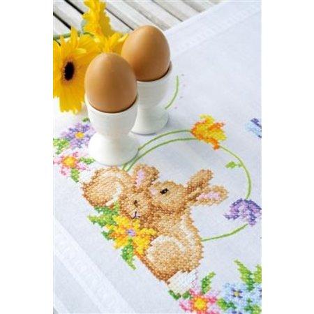 Vervaco Borduurpakket tafelkleed Knuffelende konijntjes