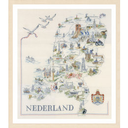 Vervaco Borduurpakket Kaart van Nederland