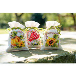 Vervaco Borduurpakket Kruidenzakjes Herfst - set van 3