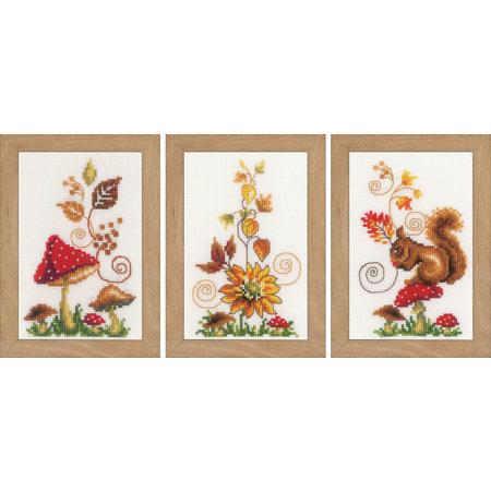 Vervaco Borduurpakket Herfst  set van 3 miniatuur
