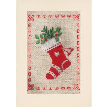 Vervaco Borduurpakket wenskaart kerstmotiefjes set van 3