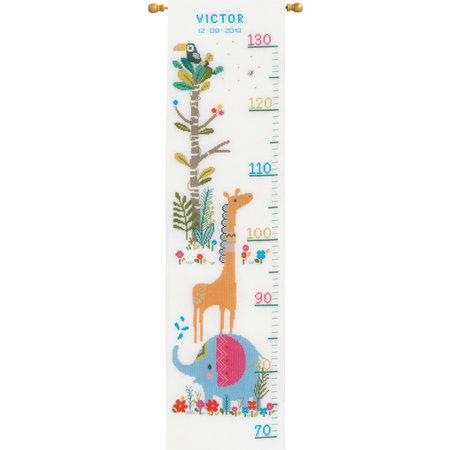 Vervaco Borduurpakket  Junglediertjes - Groeimeter