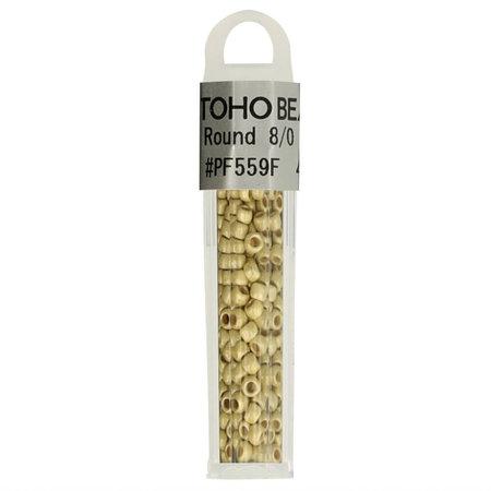 Toho Glaskralen rond 8-0 geel/goud (PF559F)