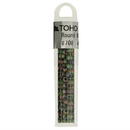 Toho Glaskralen rond 8-0 groen/paars (708)