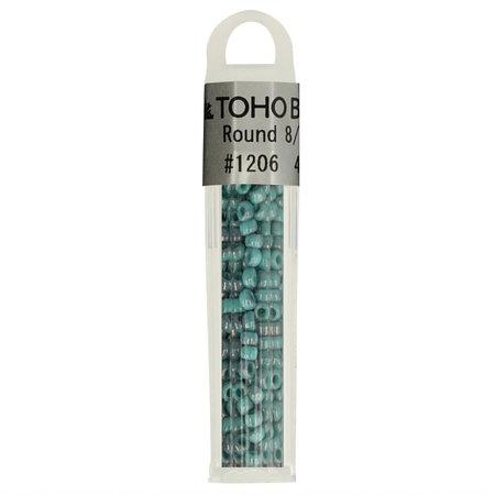 Toho Glaskralen rond 8-0 blauw/groen (1206)