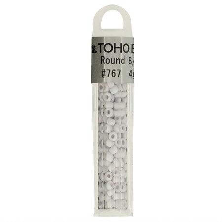 Toho Glaskralen rond 8-0 grijs/wit (767)
