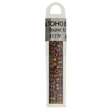 Toho Glaskralen rond 8-0 oranje/bruin/paars (177F)