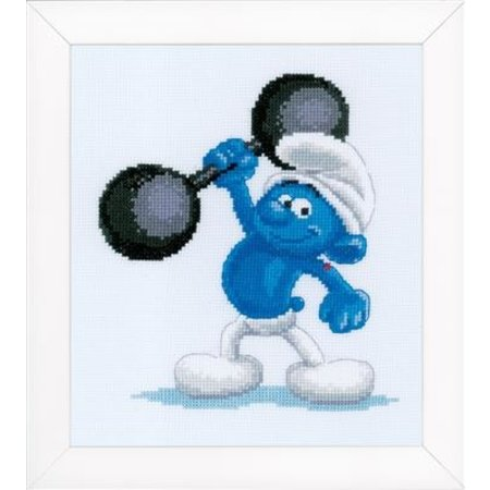 Vervaco Borduurpakket The Smurfs Hefty 17 x 18 cm