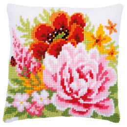 Vervaco Kussen Kleurige Bloemen roze