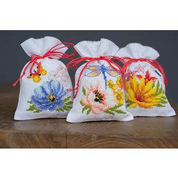 Vervaco Borduurpakket Kruidenzakjes Kleurige Bloemen - set van 3