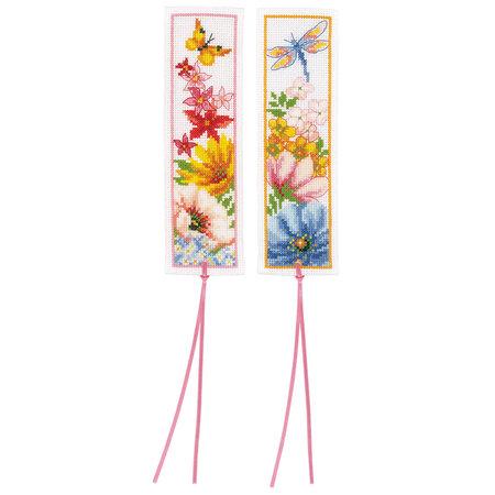 Vervaco Borduurpakket bladwijzer Kleurige bloemen - set van 2