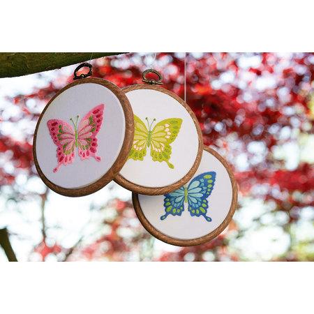 Vervaco Borduurpakket Vlinders - set van 3