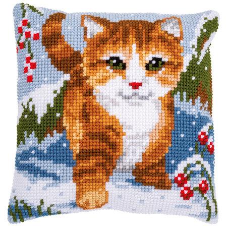 Vervaco Kussen Kat in de sneeuw