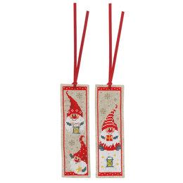 Vervaco Borduurpakket bladwijzer kerstkabouters - set van 2