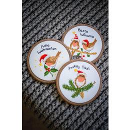 Vervaco Borduurpakket Kerstvogeltjes - Set van 3