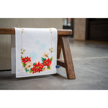 Vervaco Borduurpakket Loper Kerstbloemen