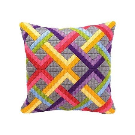 Vervaco Kussen kleurrijke diagonalen op grijs