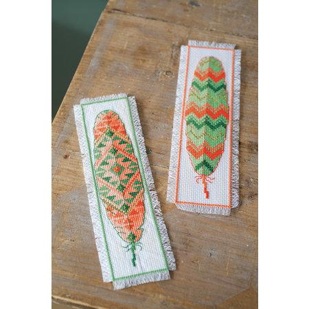 Vervaco Borduurpakket bladwijzer indianenveren - set van 2
