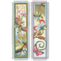 Vervaco Borduurpakket bladwijzer decoratieve vlinder - set van 2