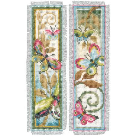 Vervaco Borduurpakket bladwijzer decoratieve vlinder - set van 2  -
