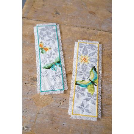 Vervaco Borduurpakket bladwijzer vlinder en bloemen - set van 2