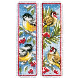 Vervaco Borduurpakket bladwijzer vogels in winter - set van 2