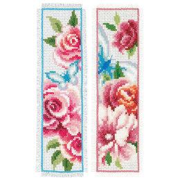 Vervaco Borduurpakket bladwijzer bloemen en vlinders - set van 2